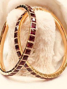 Red Ruby Bangle – Close setting by Parshwa Gold Bangalore Ruby Bangles, Bangle Bracelets, Kundan Bangles, Bangle Set, Necklaces, Ruby Jewelry, Gold Jewellery, Bridal Jewelry Vintage, Antique Jewellery Designs