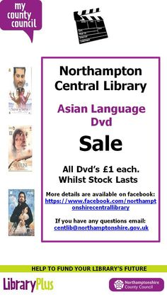 Northampton Central Library Asian language DVD sale. All DVDS £1 each.