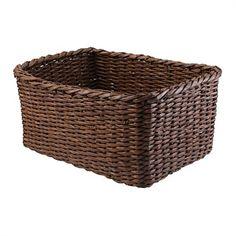 Storage Baskets & Boxes - Briscoes - Leonia Storage Basket Brown Medium $14.99 34x24x16 Storage Baskets, Laundry Basket, Wicker Baskets, Shelf, Boxes, Medium, Brown, Furniture, Home Decor