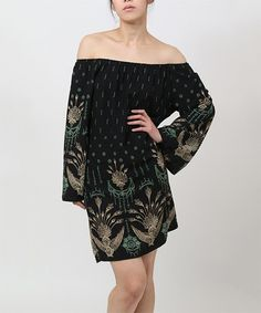 Another great find on #zulily! Black Embroidered Off-Shoulder Dress by funkitribe #zulilyfinds
