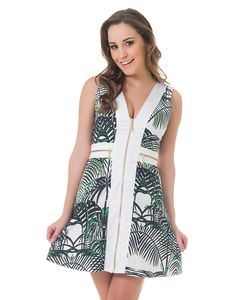 Vestido Estampa Rotativa com Abertura e Detalhes em Zíper Tropical - Lez a Lez