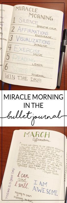 Miracle Morning and Bullet Journal - Mindful Planning miracle morning in the bullet journal Bullet Journal Inspo, Bullet Journal Layout, Bullet Journals, Bujo, Journal Prompts, Journal Pages, Journal Ideas, Daily Journal, Filofax