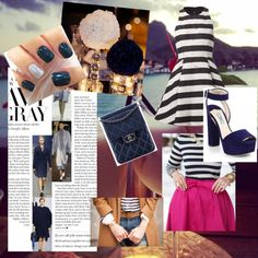 Navy by gracikrtaz on Polyvore featuring moda, Prada, Uniqlo and Bora Bora