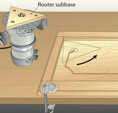 A routed groove adds interest to flat-panel doors, but finding a way to radius the corners was a mystery to me. This router subbase changes that. First, build a router subbase from 1 - My Saws And Jigs Woodworking Lamp, Woodworking Projects That Sell, Woodworking For Kids, Woodworking Techniques, Intarsia Woodworking, Popular Woodworking, Woodworking Hacks, Woodworking Quotes, Woodworking Jigsaw