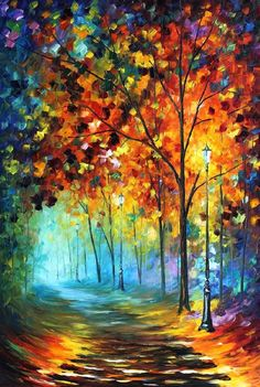 Fog Alley is a great piece of expressive colorful art that will decorate any room. This forest painting by Leonid Afremov will draw everyone's attention and make your days brighter. Title: Fog Alley S Forest Painting, Artist Painting, Oil Painting On Canvas, Canvas Art, Knife Painting, Rain Painting, Painting Trees, Painting Flowers, Poster Color Painting