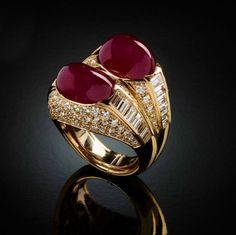 Rubini birmani e diamanti taglio brillante e taglio smeraldo