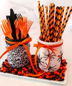 DIY Mason Jar Halloween Utensils Holders - 19 Budget-Friendly DIY Kids Halloween Party Ideas