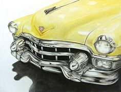 Vintage Trucks CaddyA Cadillac for your enjoyment. by David Neace - Colored Pencil Artwork, Colored Pencils, Chevy Truck Models, Classic Chevy Trucks, New Trucks, Vintage Trucks, Chalk Art, Old Cars, Cadillac