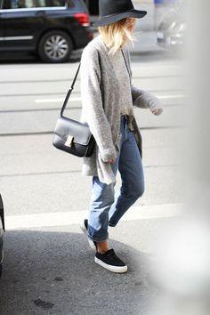 My style- boyfriend jeans, platform flats, oversized knit perfect.