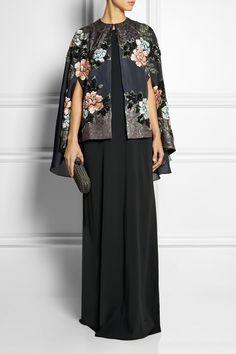 Biyan|Cana embellished embroidered silk-blend organza cape|NET-A-PORTER.COM