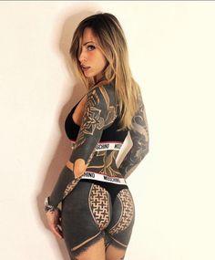 Hot Tattoos, Body Art Tattoos, Girl Tattoos, Tattoos For Women, Tattoo Girls, Tatoos, Full Body Tattoo, Cute Underwear, Inked Girls