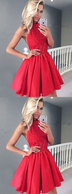 A-Line Halter Backless Red Satin Short Homecoming Dress with Lace,YY372