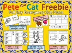 Emergency Sub Plans Kindergarten Inspirational 73 Cool Pete the Cat Freebies and Teaching Resources Kindergarten Literacy, Literacy Activities, Teaching Resources, Teaching Ideas, Teaching Time, Teaching Music, Teaching Tools, Toddler Activities, Beginning Of School