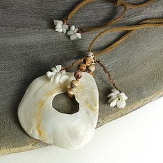 Sea Shell Jewelry pendant with white shell by SpiritCarrier
