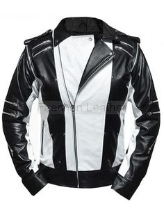 Black & White Vintage Leather Jacket for Men