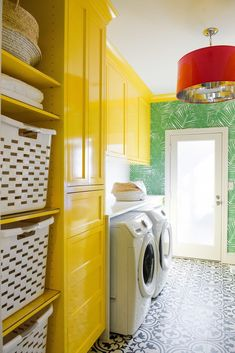 Mudroom 7 Dreamy Laundry Room Before and Afters - The Effortless Chic Acne Imposters Some are simply Yellow Laundry Rooms, Laundry Room Colors, Laundry Room Storage, Laundry Room Design, Storage Room, Laundry Closet, Room Organization, Laundry Drying, Storage Ideas