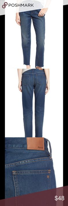 """Madewell The Perfect Vintage 👖 NWT A '90s-chic high rise and frayed step hems define vintage-inspired jeans cut with a cool relaxed fit. The indigo wash is perfectly whiskered and faded, while beautiful golden topstitching completes the lived-in look. - 26 1/2"""" inseam; 15"""" leg opening; 12"""" front rise; 15"""" back rise (size 29) - Zip fly with button closure - Five-pocket style - 100% cotton - Machine wash cold, tumble dry low Madewell Jeans"""