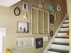 This great collection was done using an old widow as the focal point and ceiling tiles, pictures, collectibles, etc.
