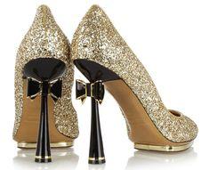NICHOLAS KIRKWOOD FLAT SHOES PICS  | stiletto black gold shiny festive holidays christmas new year's shoe ...