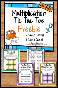 FREEBIES - Facts Tic Tac Toe Math Games Freebie from Games 4 Learning combines the fun of Tic Tac Toe and with practice of basic multiplication facts.    It includes 3 Tic Tac Toe Multiplication Game Boards and 1 Print and Play Game Sheet.