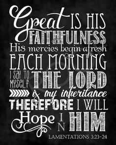 Scripture Art  Lamentations 3:23-24  by ToSuchAsTheseDesigns