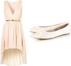 Plunging neckline dress, $71 / Ballet shoes