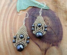 Hematite macrame earrings, gemstone earrings, macrame jewelry, micro macrame, boho earrings, macrame stone, bohemian earrings