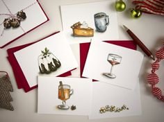 Holiday Cards for Food Lovers  Christmas Carol Holiday by drywell