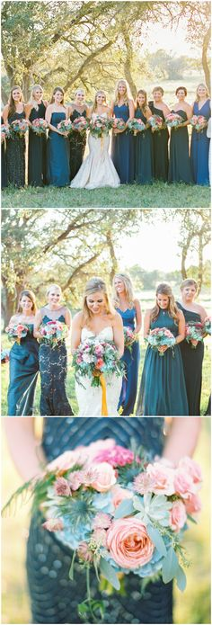 Bridesmaid fashion, chic bridal party, long blue and teal bridesmaid dresses, mismatched styles, wedding bouquets with pink roses and succulents, Summer wedding // Stephanie Hunter Photography