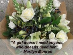 Day 11 of Pot Pourri Love is Marilyn Monroe with Contemporary Chic, Fresh Seasonal Whites. Beautiful flowers and a great quote from a very famous person! Flowers For Valentines Day, Order Flowers Online, Flower Delivery, Marilyn Monroe, Beautiful Flowers, Floral Wreath, Seasons, Vegetables, Ethnic Recipes