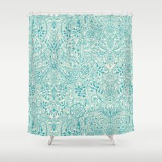 Detailed+Floral+Pattern+in+Teal+and+Cream+Shower+Curtain+by+Micklyn+-+$68.00