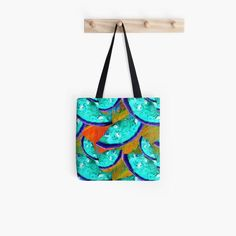 Abstract watermelon faces Tote Bag. This beautiful teal watermelon face design makes the perfect spring or summer fashion bag. #springbag #summerbag #totebag #tealtote #tealbag