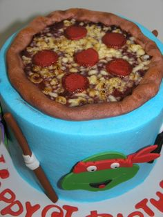 Awesome cake idea for a Teenage Mutant Ninja Turtles themed birthday party