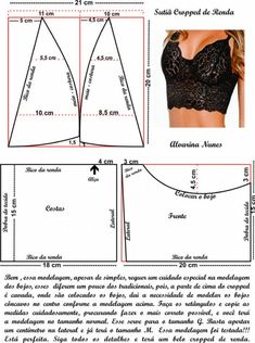 Atendendo a pedidos, a modelagem correta do Sutiã Top de Renda. Underwear Pattern, Lingerie Patterns, Sewing Lingerie, Dress Sewing Patterns, Clothing Patterns, Sewing Bras, Clothing Ideas, Bralette Pattern, Bra Pattern