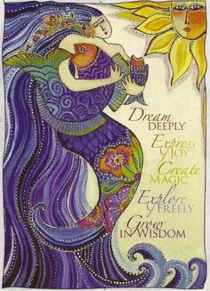 Love this design and this artist, Laurel Burch. I worked as a greeting card writer for many years and this is actually one of the cards that I wrote. Laurel was a fantastic artist. Laurel Burch, Oceans Song, Mermaids And Mermen, Merfolk, Mermaid Art, Mermaid Quotes, Fat Mermaid, Mermaid Quilt, Mermaid Images