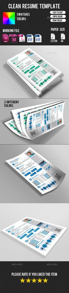 Resume Template, Resume cv and Letter designs - resume paper size