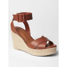 Gap Women Leather Espadrille Wedges ($56) ❤ liked on Polyvore featuring shoes, sandals, cognac, regular, wedge heel sandals, woven leather sandals, braided sandals, cognac wedge sandals and woven wedge sandals
