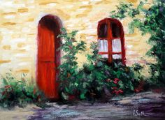 "For Sale: Red Door In Venice by Kay Smith | $250 | 16""w x 12""h 