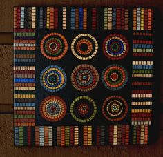 PrimiTive Hit or Miss Penny Hooked Rug Sampler FolKart Paintings. $179.00, via Etsy.