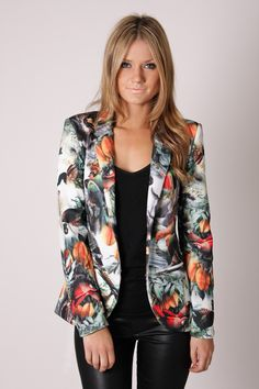 birds of paradise printed blazer