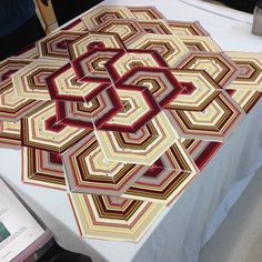 Two weeks ago I attended a class with a very talented local quilter, Shirley Mooney. We started with a single length of a stripey fabric, . Quilting Projects, Quilting Designs, Applique Designs, Striped Quilt, String Quilts, Hexagon Quilt, Geometric Quilt, Scrappy Quilts, Jellyroll Quilts