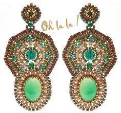Earrings with Aventurine and Gold Fill, Statement Swarovski Crystal, Beaded by Esther Marker