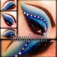 Exotic blue winged eye shadow with a crystal accented crease.
