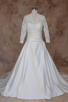 Find classic a-line v-neck lace satin wedding dresses with long sleeves, elegant button bride gowns with ruched waist, full length wedding dresses, wedding dresses at discount prices Plus Size Wedding Gowns, Evening Dresses Plus Size, Cheap Wedding Dress, Wedding Dresses, Full Skirt Dress, Beautiful Wedding Gowns, Elegant Bride, Bride Gowns, Lace Sleeves