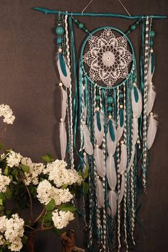 Turquoise Dreamcatcher Boho Dream Catcher Large crochet