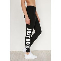 Nike Leg-A-See Just Do It Legging ($45) ❤ liked on Polyvore featuring pants, leggings, graphic print leggings, slim pants, graphic leggings, slimming leggings and nike leggings