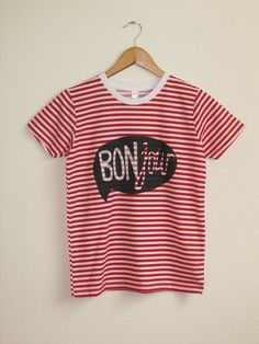 d91bd67b0d7e4 LIMITED STOCK Red or Navy and White Striped Word Bubble Rolled Cuffs Hello  Bonjour Tee