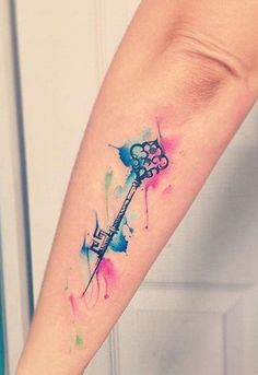 Watercolor Key Tattoo - MyBodiArt.com