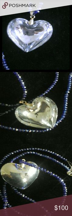 ??Just in??Murano glass??Crystal??Necklace?? Hand crafted Murano glass heart pendant Blue crystals Wire Large necklace clasp Matching earrings and bracelet included Shimmering New FREE GIFT?? FREE Pashmina scarf with $35 purchase?? Creations by Pauline?? Jewelry Necklaces