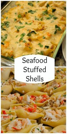 Seafood Stuffed Shells in a Sherry Cream Sauce Recipe- buttery crab, shrimp, sherry spiked cream sauce, mushrooms and parsley.